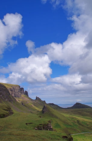 Quiraing on the Trotternish peninsula på Isle of Skye
